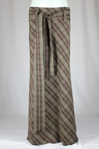 Elegant Belted Plaid Long Skirt