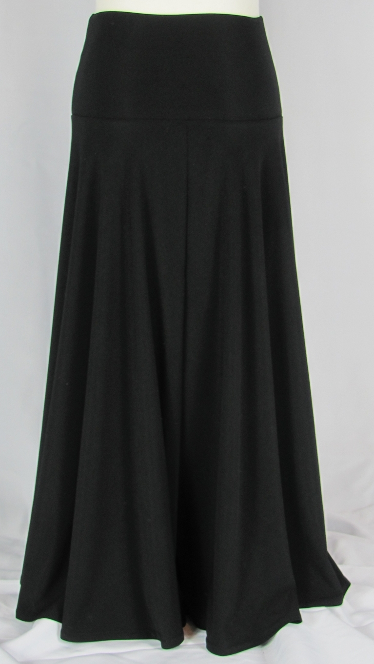 Famous Slinky Girls Long Black Skirt, Sizes 6-18