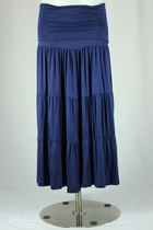 Feminine 4 Layer Navy Skirt, Calf-Length Sizes 6-14 - FINAL SALE NO RETURNS OR EXCHANGES