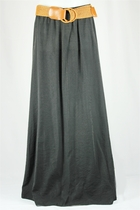 Flowing Belted Long Black Skirt