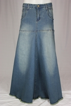 Flowing Love Long Jean Skirt, Sizes 6-18