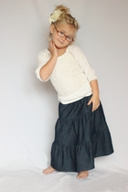 Girls Dark Denim Tiered Long Skirt, Sizes 2-7