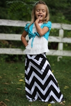 Girls Long Black Chevron Maxi Skirt, Sizes 18months-6/7