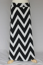 Girls Long Black Chevron Maxi Skirt, Sizes 8-16