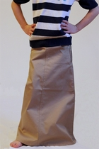 Girls Long Khaki Skirt, Sizes 2-18