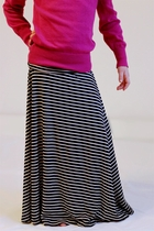 Girls Long Black Stripe Maxi Skirt, Sizes 6-18