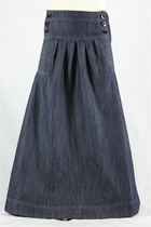 Girls Pleated Long Jean Skirt, Sizes 6-18