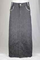 Graceful In Gray Long Jean Skirt, Sizes 6-18