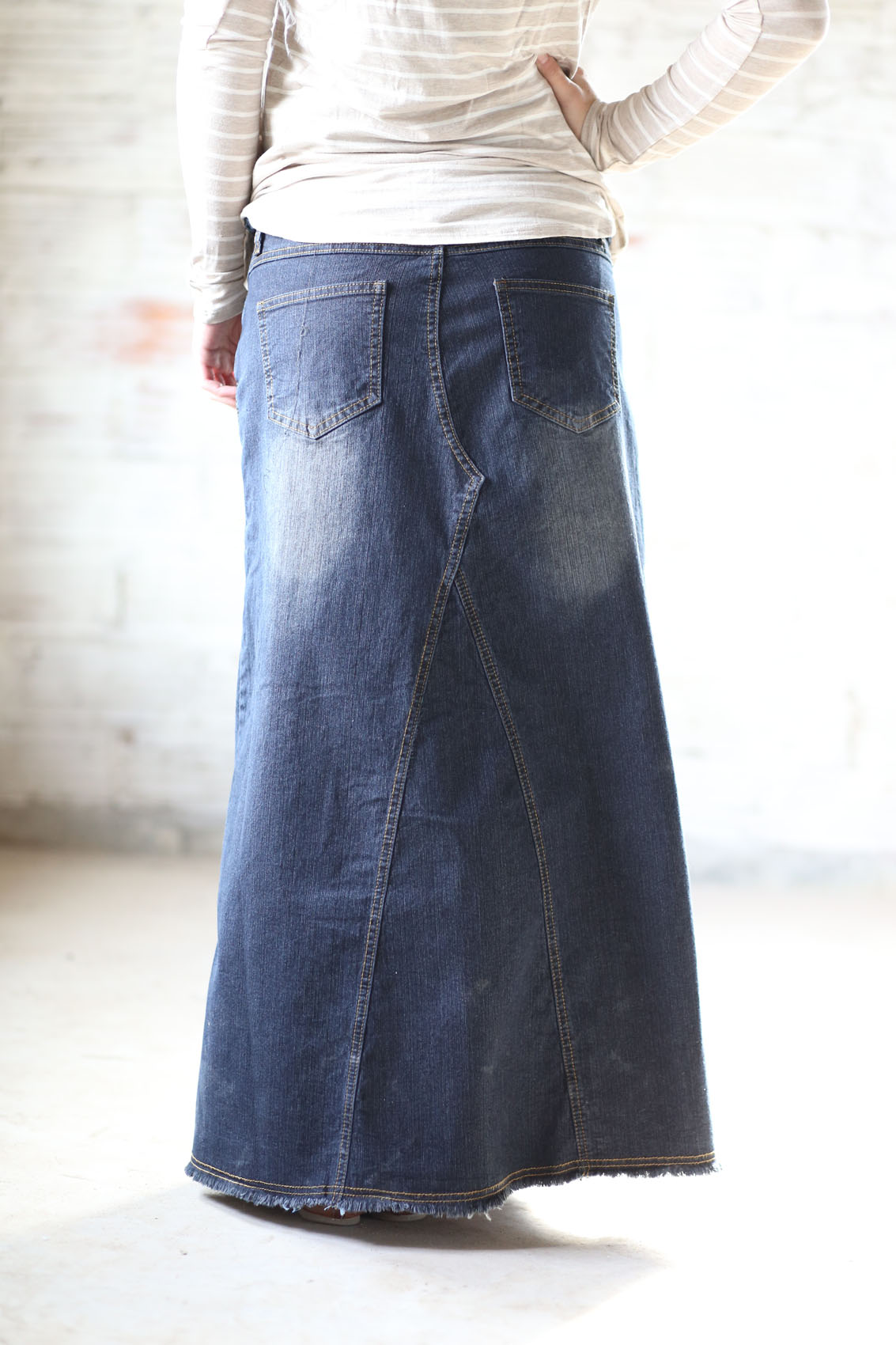 A-line Dark Long Jean Skirt | Petite Length Denim Skirt Sizes 4-20