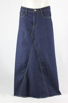 Fringe Indigo Long Jean Skirt, Sizes 0-18