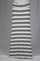 Junior White Black Striped Long Skirt