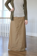 Just Chic Long Khaki Skirt, Sizes 6-18