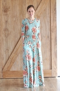Lauren Mint Long Modest Maxi Dress | Modest Floral Long Dress Size S-L