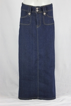 Long Indigo Jean Skirt, Petite, Sizes 0-14