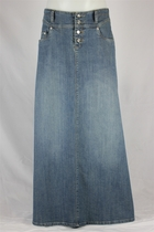 Long Vintage Jean Skirt, Sizes 6-18