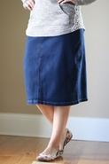Lounge-N-Denim Skirt | Below Knee Jean Skirt Sizes 4-14