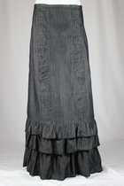 Margot Denim Ruffles Layered Long Jean Skirt