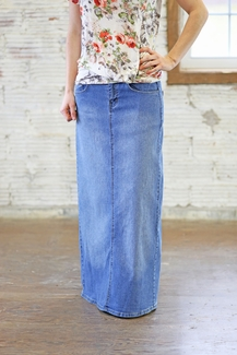 Melissa' Straight Fit Style Long Jean Skirt