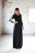 Modest Black Maxi Dress for Women | Long Sleeves with Crocheting Dress