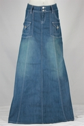 Modest Chic Long Denim Skirt, Sizes 6-18