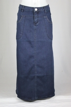 Navy Charm Long Jean Skirt, Petite Length