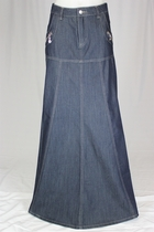 Navy Classy Long Jean Skirt, Sizes 8-18