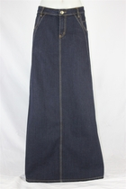 Navy Sweetheart Long Jean Skirt, Sizes 6-18
