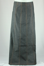 Patricia Charcoal Long Jean Skirt, Sizes 4-18