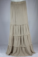 Peasant Ruffle Long Khaki Skirt, Sizes 2-12