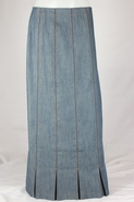Pleated Panel Vintage Long Jean Skirt, Sizes 4-18