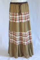 Pretty Cowgirl Plaid Flower Tiered Long Skirt, Sizes 4-12