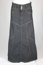 Princess Charcoal Black Long Jean Skirt PETITE, Sizes 4-16