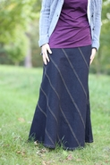 Rainbow Long Jean Skirt | Modest Denim Skirt Sizes 6-18