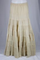 Ruffled Khaki Tiered Long Skirt, Sizes 4-10