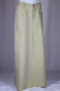 Sahara Khaki Long Denim Skirt, Sizes 6-18