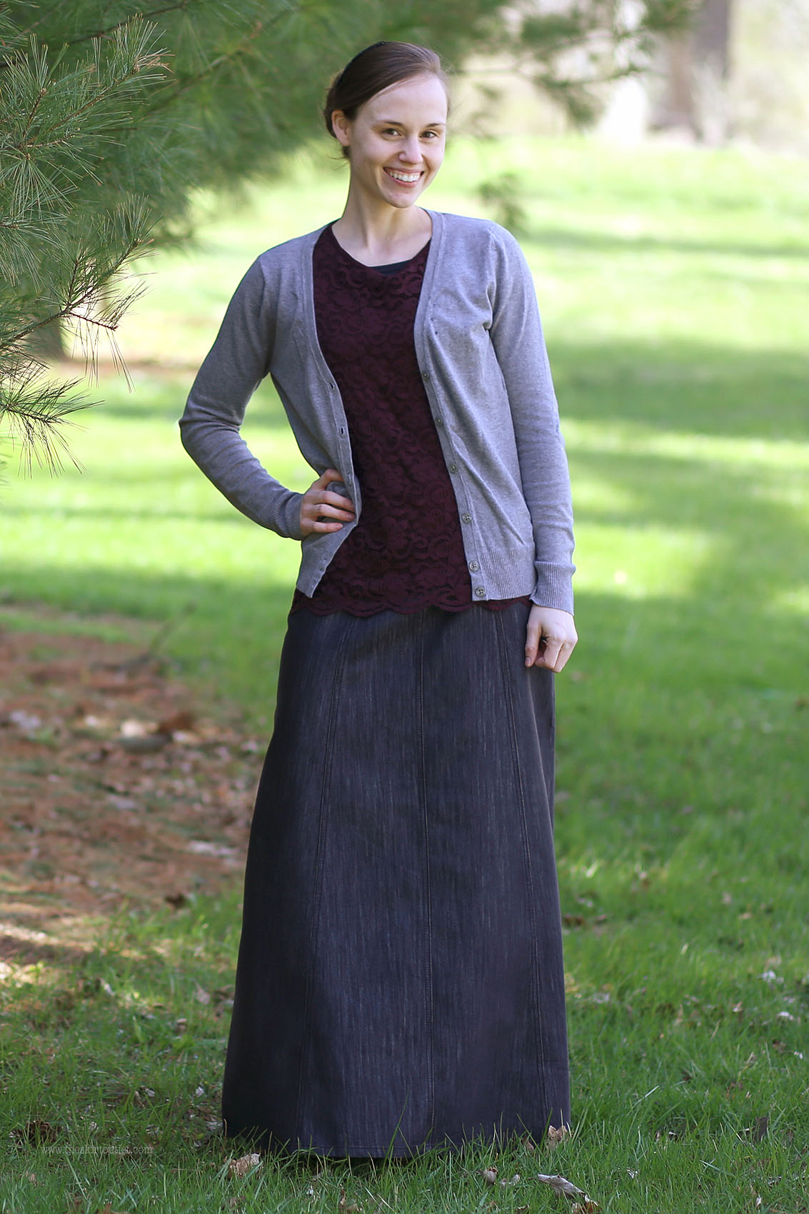 Shimmer Black Modest Jean Skirt | Long Skirt Size 6-16