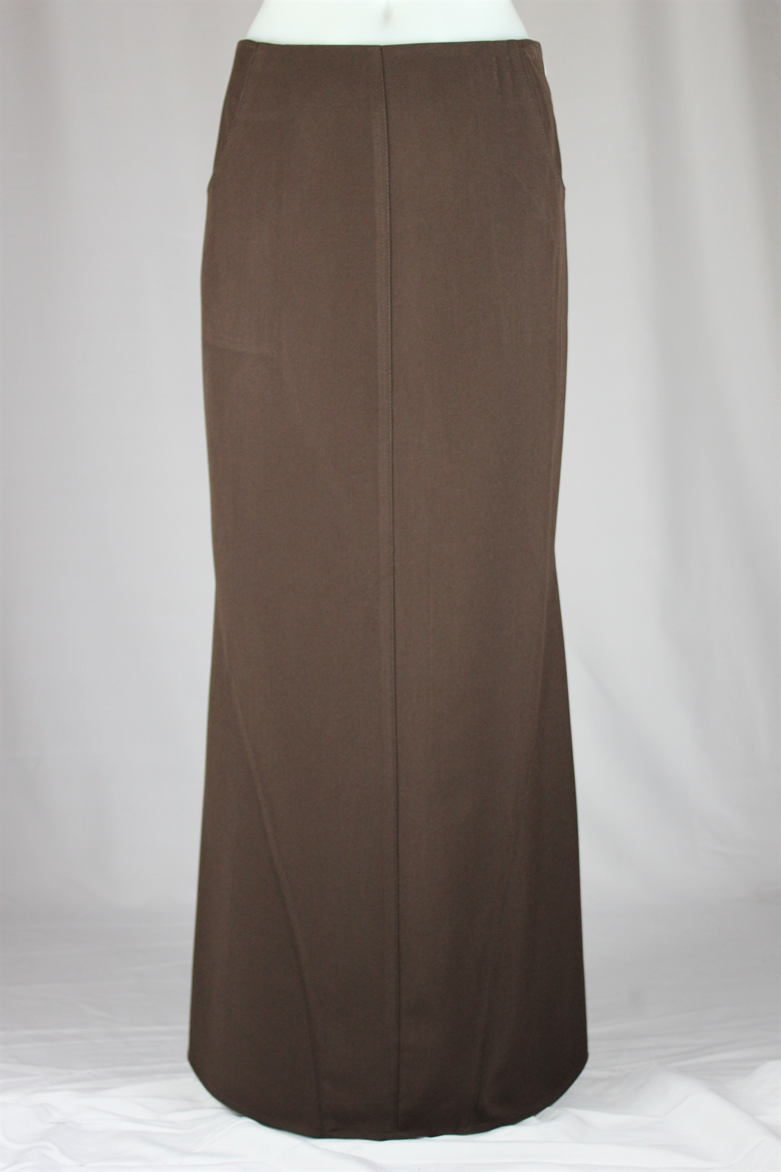 Pockets Brown Long Skirt, Size 20