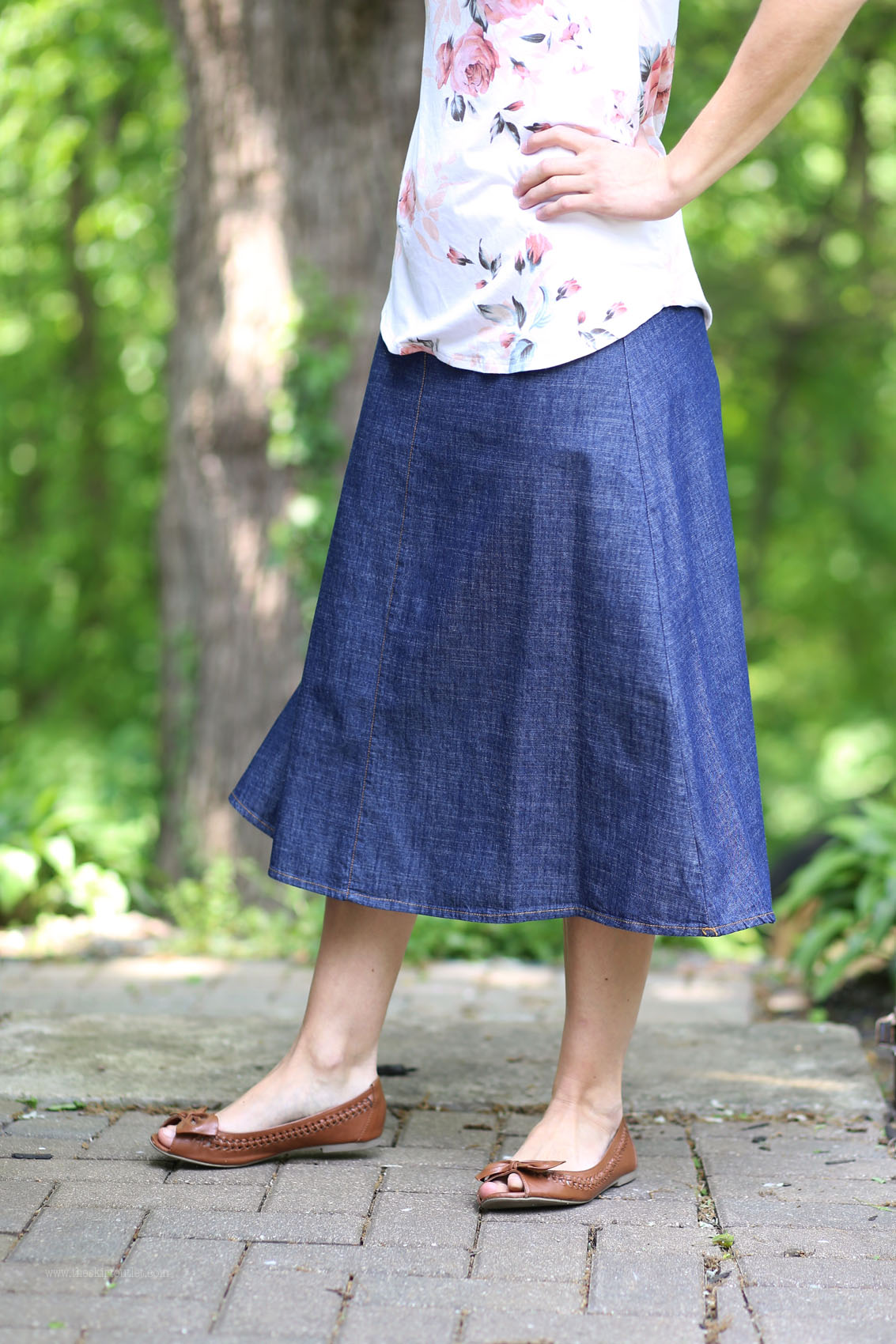 Sienna Modest Denim Calf Length Skirt | Jean Skirt Sizes 6-12