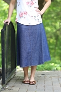 Sienna Modest Denim Skirt | Calf Length Jean Skirt Sizes 4-12