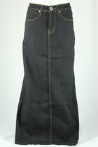 Straight Black Long Jean Skirt, Sizes 2-18