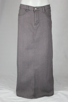 Straight Gray Long Jean Skirt, Sizes 4-16