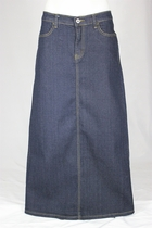Straight Indigo Long Jean Skirt, Sizes 4-16