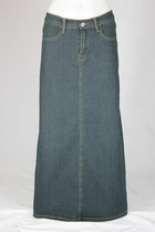 Straight Vintage Long Jean Skirt, Sizes 4-16