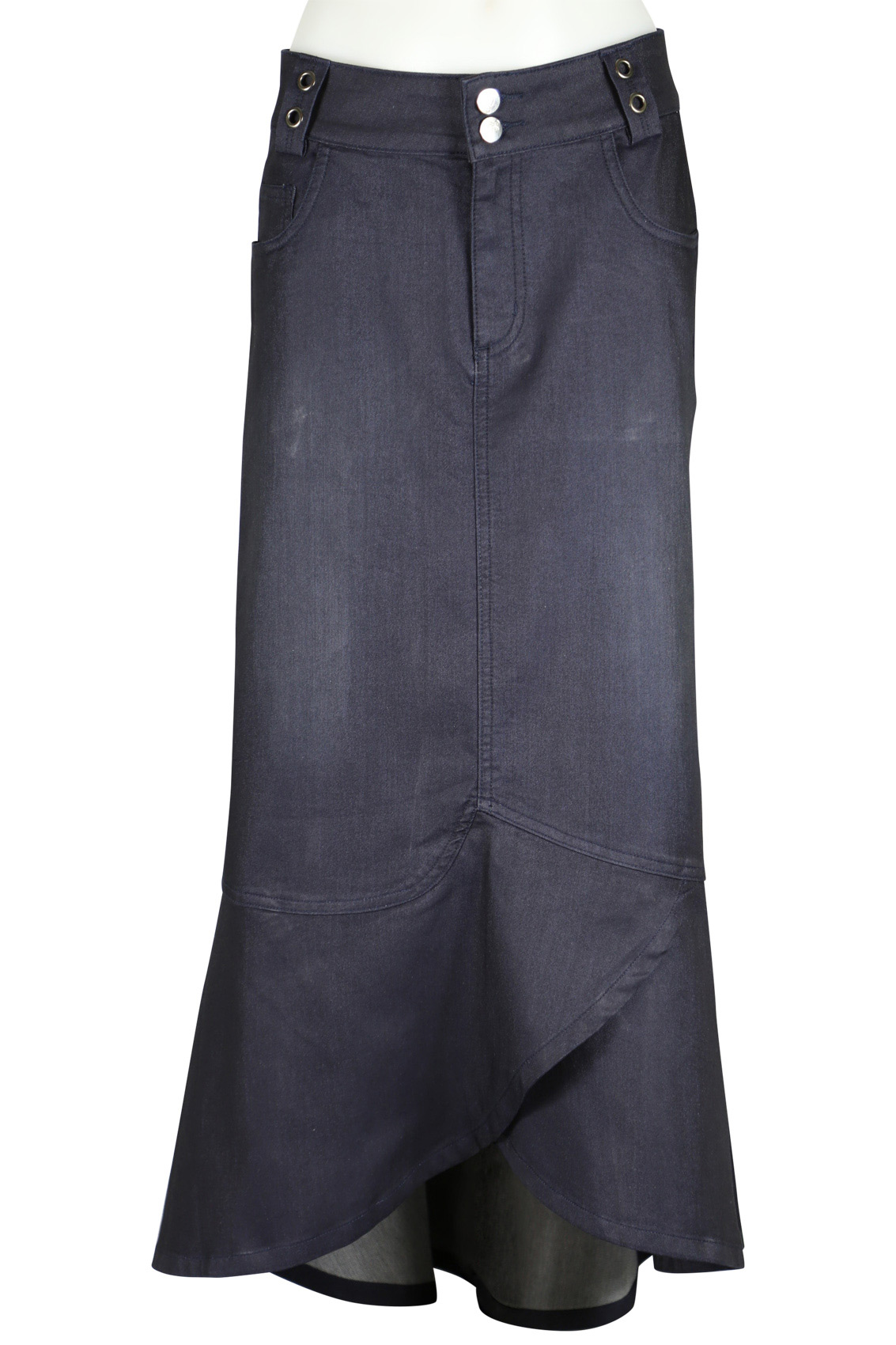 Sweet Grace Long Navy Denim Skirt | Sizes 8-18
