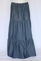 Tiered Dark Navy Long Jean Skirt, Sizes 2-20