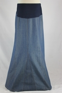 Triple Peaks Long Denim Maternity Skirt