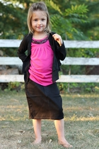 Zappo Below Knee Girls Black Jean Skirt, Sizes 7-18