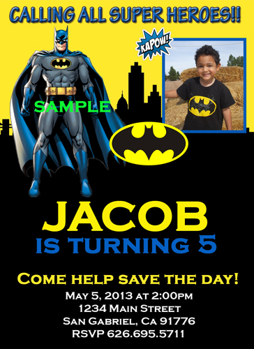 batman birthday party invitations photo personalized, Birthday invitations