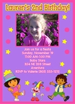 Custom Dora the Explorer Photo Birthday Party Invitations #12