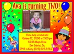 Custom Dora the Explorer Photo Birthday Party Invitations #8